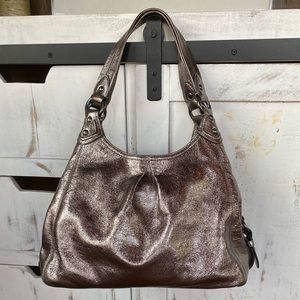 COACH, Maggie, Gunmetal Metallic Crackled Leather